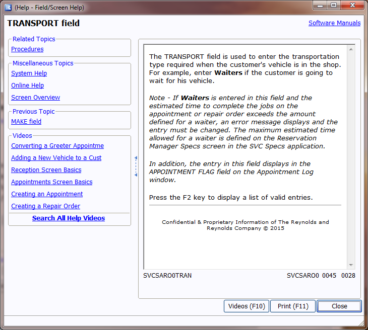 Photo of online help screen 1