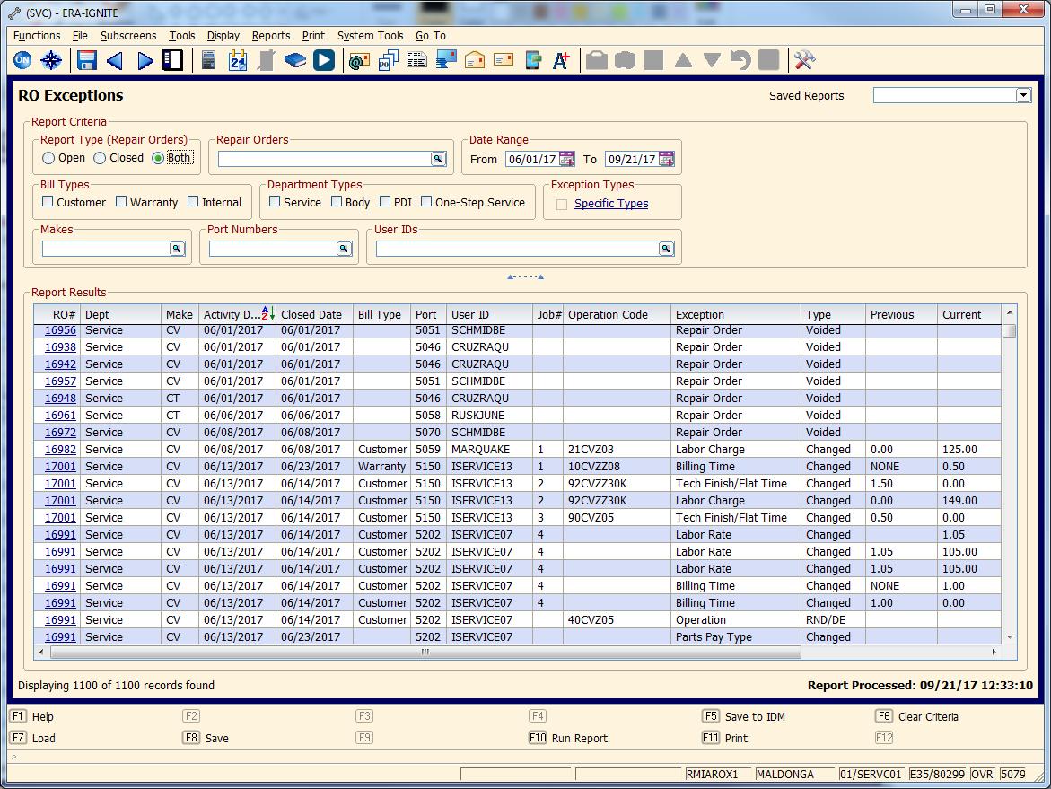 Track Service Exceptions - Report Critera